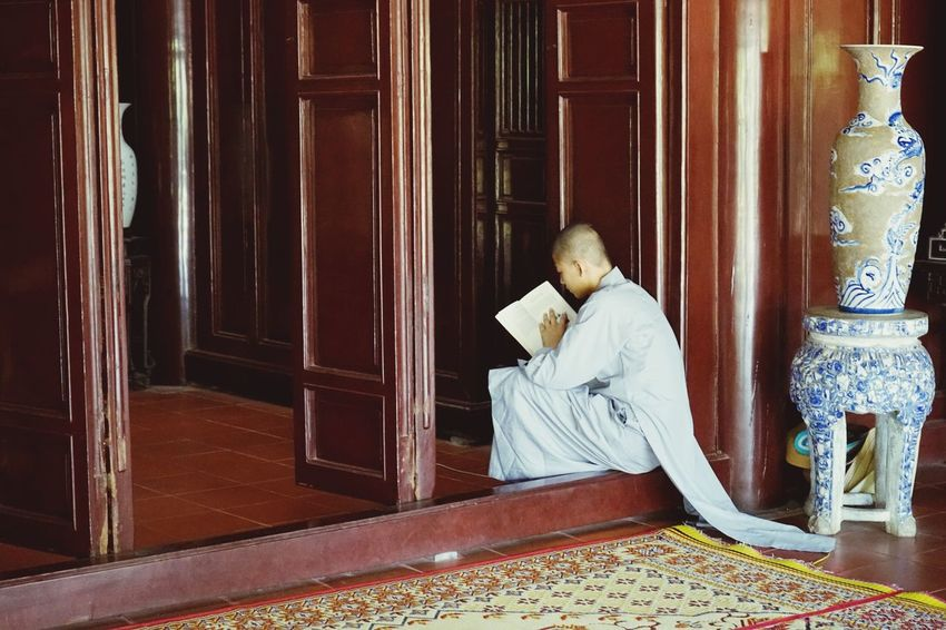Buddhist Book Monk  Religous Religious Architecture Indoors  Full Length Rug Sitting One Person Real People EyeEmNewHere Day Adults Only Young Adult