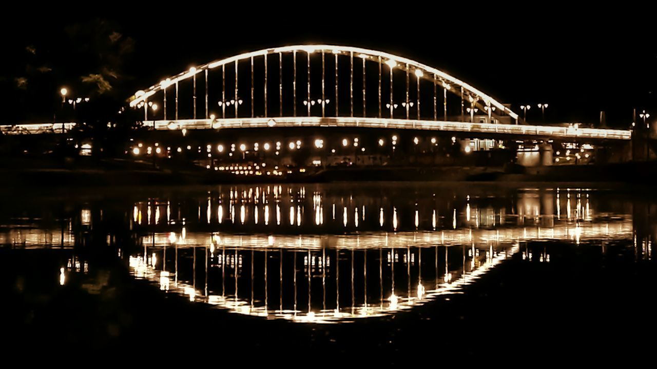 reflection, water, architecture, built structure, night, illuminated, travel destinations, no people, outdoors, bridge - man made structure, sky, nature