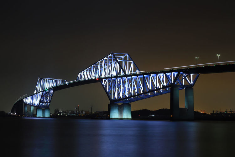 Built Structure Architecture Night Water Illuminated Bridge River Sky Waterfront Connection Bridge - Man Made Structure Reflection No People Building Exterior Nature Travel Destinations City Clear Sky Transportation Outdoors Light Tokyo Gate Bridge Tokyobayg Hello World Tadaa Community Japan Japan Photography