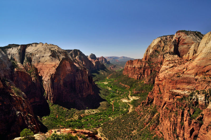 Angels Landing Hiking National Park Spectacular United States Zion Zion Canyon Zion National Park Angels Landing Beauty In Nature Cliff Day Geology Hiking Trail Mountain Nature Outdoors Physical Geography Red Rocks  Rock - Object Rock Formation Scenics Sky Spectacular View Valley View From Above An Eye For Travel The Great Outdoors - 2018 EyeEm Awards