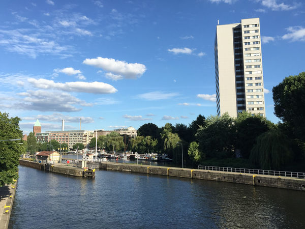 Berlin Building Exterior City Cityscape Cloud - Sky Clouds Clouds And Sky Day High-rise Building Mühlendamm Mühlendamm Watergate Mühlendammschleuse River Riverside Riverside View Sky Spree Spree River Spree River Berlin Spree Riverside Tower Block  Trees Water Waterfront Watergate