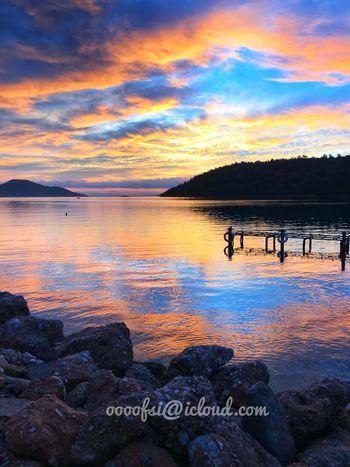 早起晚归,看爱情海日出日落 IPhoneography Love Sea Travel In Turkey Cloud - Sky Sky Water Sunset Scenics Tranquility Beauty In Nature Outdoors Sea