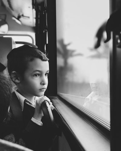 Journey מיישחורלבן מייאייפון10 Mydbusmoments IPhoneX ShotOnIphone Real People Window One Person Child Portrait Lifestyles Looking Public Transportation Childhood