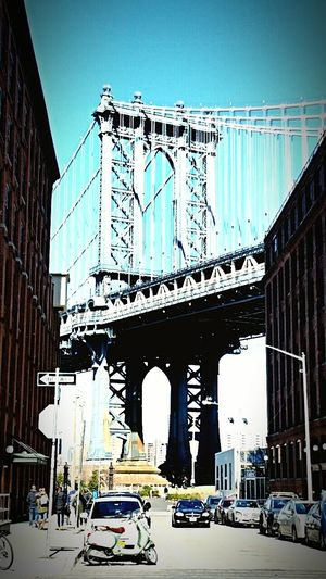 City Clear Sky DUMBO, Brooklyn New York Manhattan Bridge Urban Road Architecture Car Transportation Outdoors Fame