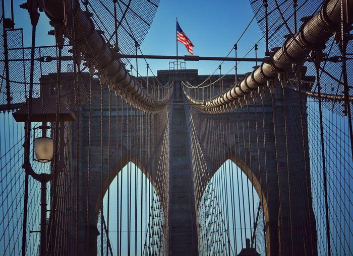 Low angle view of brooklyn bridge