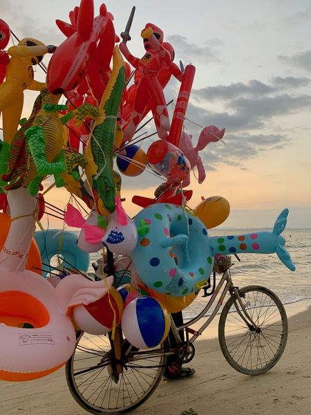 No People Sihanoukville Cambodia Otres Otres Beach Sihanouk Ville Province Beach Sea Transportation Toy Multi Colored Balloon Variation Art And Craft Choice For Sale Inflatable Ring Work Salesman Childhood Abstract Bicycle Bike Transportation Celebration