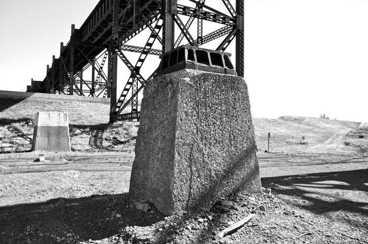 Black And White Blandwhite Concrete Structure Industrial Under The Bridge Shadows Saint Louis