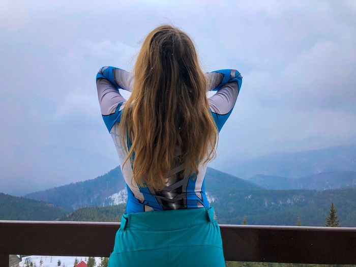 Rear View Mountain Sky One Person Cloud - Sky Hair Leisure Activity