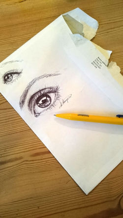 Pretty Eye Doodle - Art - Laura Hampton Artist Doodle Sketch Art Biro Browsonfleek Close-up Day Drawing Education Envelope Eyes High Angle View Indoors  Killing Time Lashes No People Paper Pen Pretty Rough Table Tables