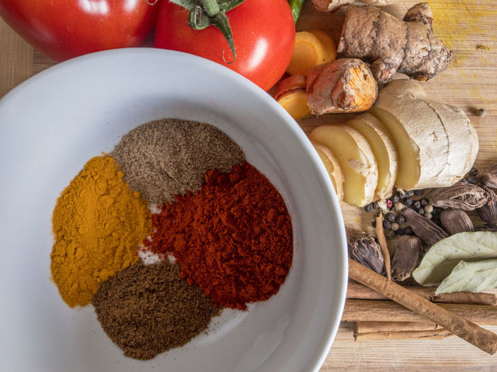 Cooking Cuisine Curry Bay Leaves Bowl Cardamom Chili Powder Cinnamon Coriander Cumin Food Food And Drink Ginger Indian Food Ingredient Pepper Corn Tomato Tomatoes Turmeric