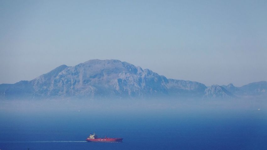 Morocco Marokko Tanger  Africa Gibraltar Rock Gibraltar Gibraltar Landscape Gibraltarview Landscape Sea And Sky Sea View Rock Mountain View Mountains Foggy Foggy Landscape Ship Blue Sea Strait Of Gibraltar Nature Nature_collection Nature Photography Blue Sky