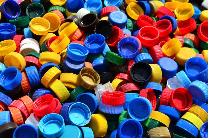 Full frame shot of multi colored bottle cap