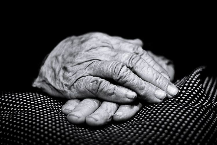 Old hands Woman Fingers Old Hands Older Woman Aged Aging Black And White Human Hand Black Background Senior Adult Human Finger Close-up Time