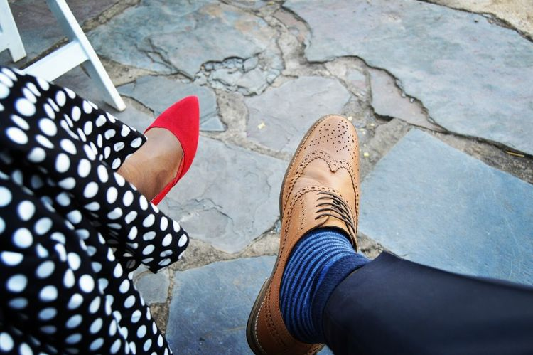 His&hers Shoes Husband And Wife Love ♥ Red Heels Man Shoes Different Shoes Shoes Size Relaxing Hanging Out Wedding