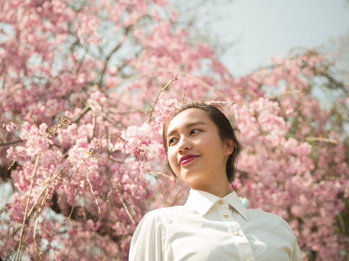 Flower One Woman Only One Person Pink Color Cherry Blossom Springtime Outdoors Millennial Pink EyeEm Selects