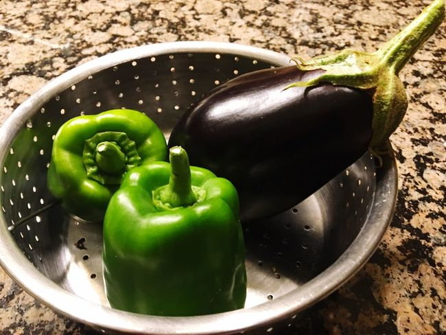 Eggplants and peppers, organic gardening.