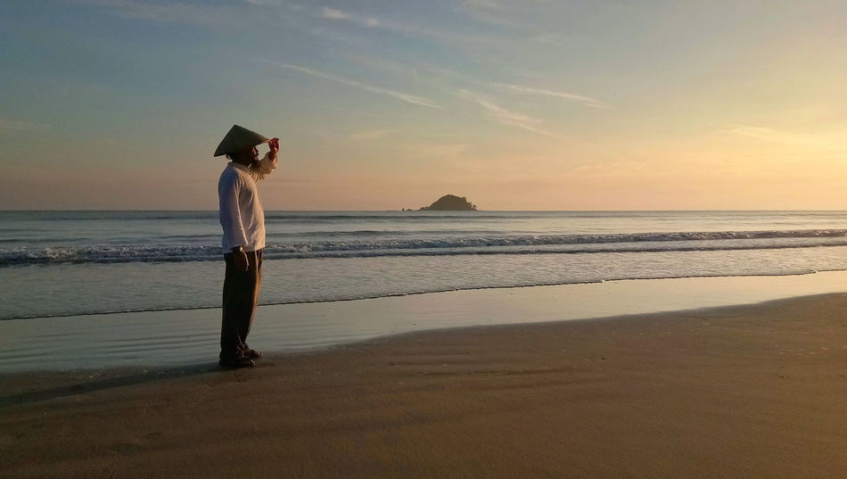Beach Sea One Person Sand Horizon Over Water Sky One Man Only Standing Outdoors Adult Landscape Sunrise Sand And Sea
