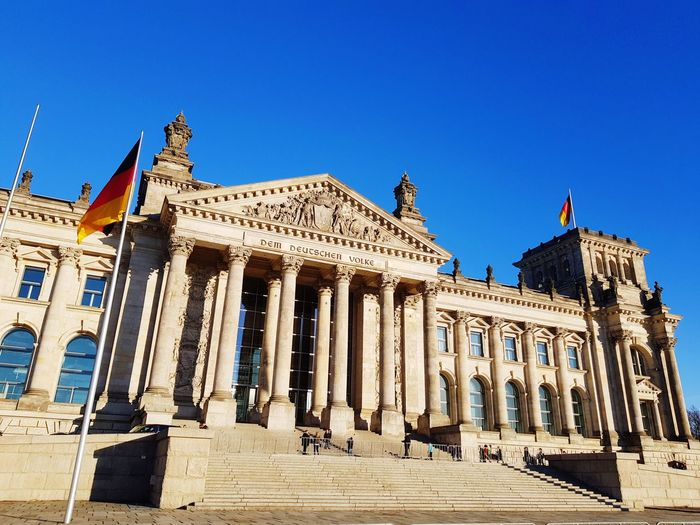 Dem Deutschen Volke Bundestag Berlin Politics And Government City Clear Sky Government Architectural Column Sky Architecture Building Exterior Built Structure Historic Palace History Historic Building Monument Royal Person Façade