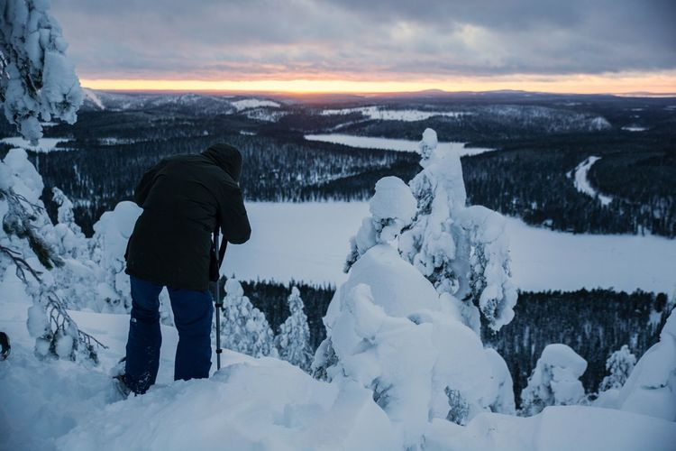 Snow Cold Temperature One Person Winter Nature Landscape Kontainen Rukka Kuusamo Finnish Nature