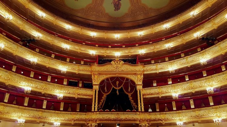 Indoors  Pattern Gold Colored No People Architecture Arts Culture And Entertainment Illuminated Moscow Russia Travel Destinations Social Life Theater Theatre Bolshoi Theater Bolshoi Theatre Architecture Built Structure Indoors  Symmetry Royal Box Seats Gold