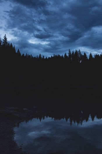 Clouds Lake Switzerland Caumasee Reflection Tree Sky Nature Silhouette Water Forest Outdoors No People Landscape Night Cloud - Sky Long Exposure Aftersunset Dark