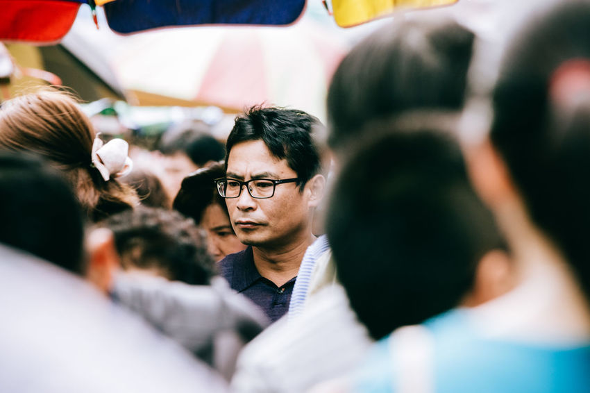 lost in the crowd Adult Adults Only Adults Only Asian  Asian Man Busan Business Finance And Industry Business Person Businessman Close-up Crowd Crowded Focus Object Headshot Human Head Korean Lifestyles Lost Man With Glasses Men People Selective Focus Streetphotography Tourist Snap A Stranger