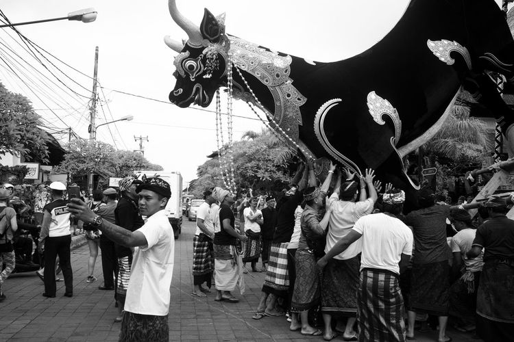 only in bali Bali Travel Wanderlust Animal Themes Black And White Cremation Ceremony Cultures Day Don't See This Everday Large Group Of People Lembu Lembu Men Monochrome Moving A Stat Moving Day Ngaben Only In Bali Outdoors People Real People Street Photography Ubud