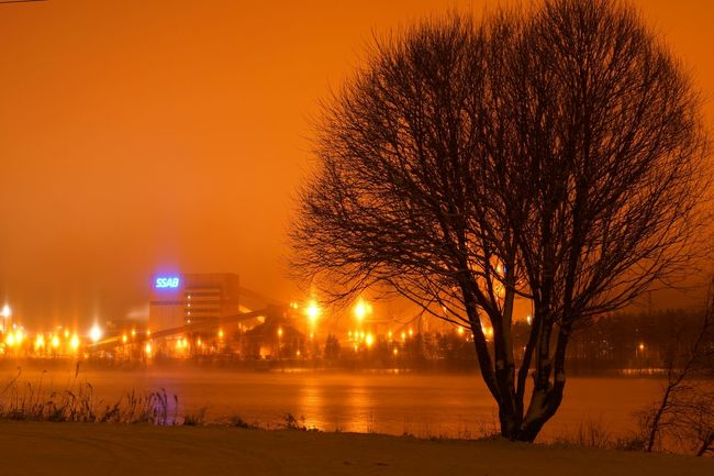 Its like poison sky.. ♨ Nightphotography Light In The Darkness Water_collection Tree Steel Northern Sweden Nature Foggy Luleå  No Edit/no Filter