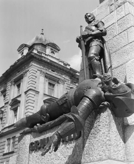 Analogue Film Poland Statue Black And White Grunwald Krakow Monument
