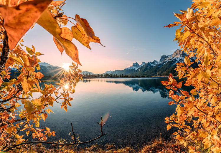 Reflection of autumn leaves on lake against sky