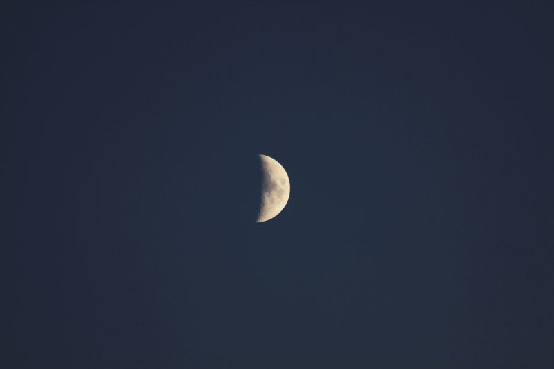 Mond Moon Night Space Astronomy Sky Beauty In Nature Half Moon Planetary Moon Scenics - Nature Tranquil Scene Copy Space Low Angle View Tranquility Space And Astronomy No People Moon Surface Nature Idyllic Crescent Science