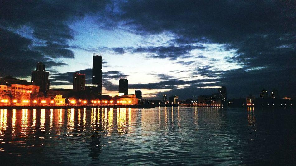 Вечерний Екатеринбург екб Екатеринбург вечер небо вода горизонт