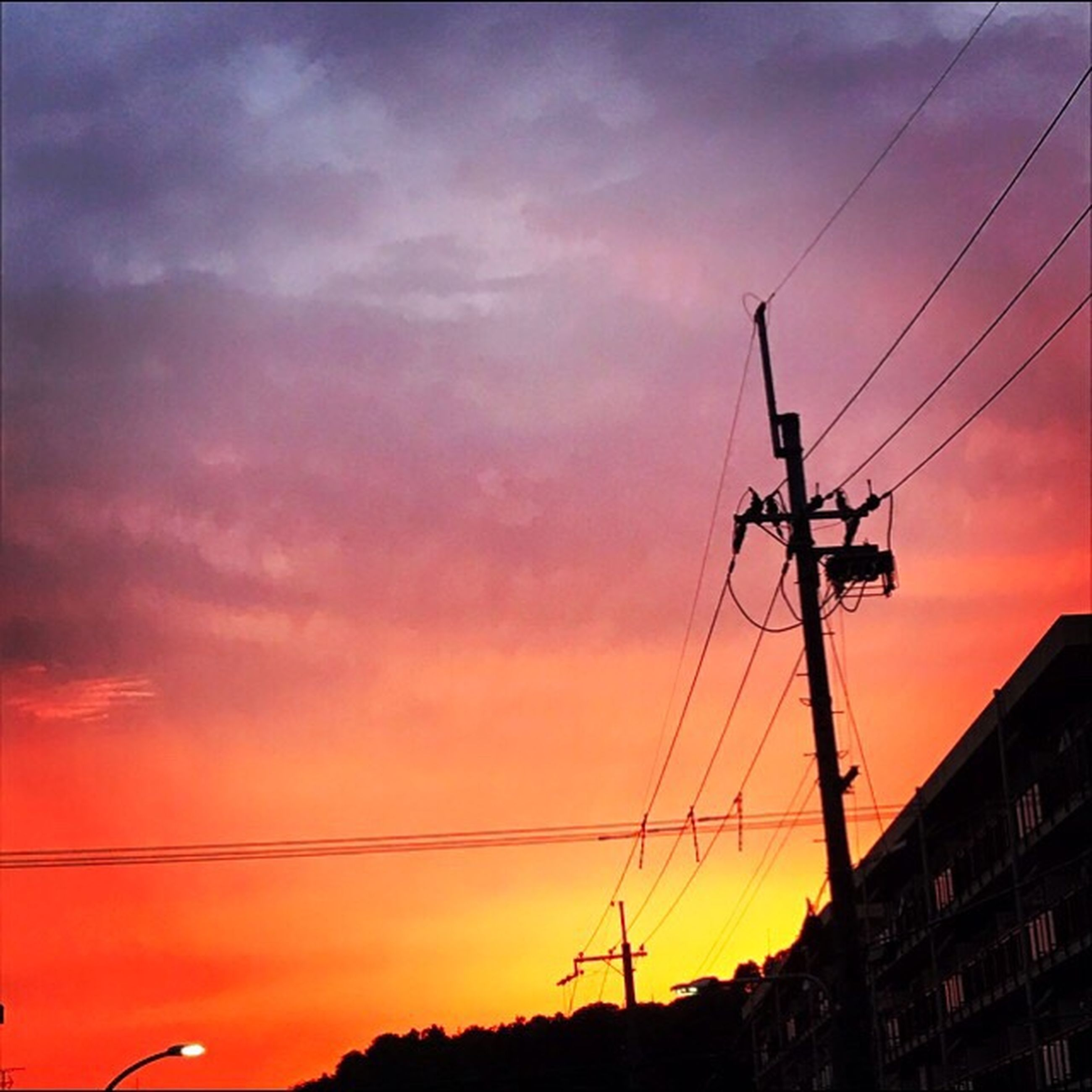 sunset, cable, connection, sky, silhouette, power line, cloud - sky, electricity, low angle view, electricity pylon, power supply, no people, technology, outdoors, built structure, nature, architecture, building exterior, telephone line, day