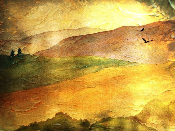 Cut And Paste Watercolor Painting Superimpose Photo Editing Outdoors Nature No People Tranquility Tranquil Scene Birds Hills Hills And Valleys Hills And Trees Experimental Creative Mixedmedia