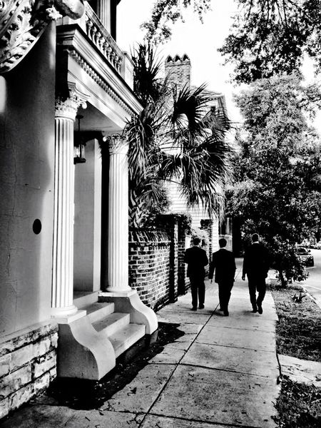 Charleston SC Architecture_bw Classic Architecture Walking After The Wedding Men Tuxedo City Streets  Southern Urban Exploration