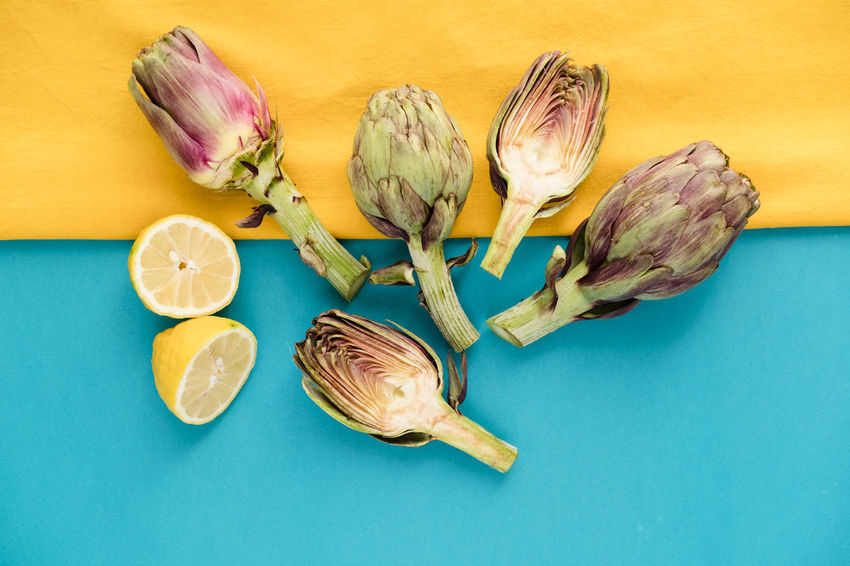 Fresh Artichokes on a color blocked background Color Block Copy Space Food And Drink Artichoke Artichokes Background Blue Close-up Contemporary Day Food Food And Drink Freshness Healthy Eating Indoors  Intense Colors Lemon No People Seasonal Springtime Still Life Vegetable Yellow