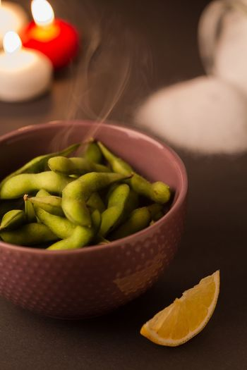 Close-up of boiled vegetables in bowl on table