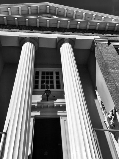 """A Tale of Two Columns"" Entrance to historic old California State Capitol (1853-1854) building in Benicia. Columns Columns And Pillars Capitol Building Columns Blackandwhite Black And White Photography Historical Building Historical Historical Monuments History Black & White"