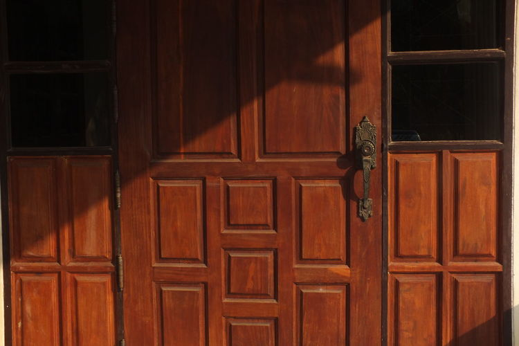 Closed wooden door of house