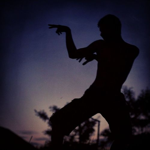 Fighting the Shadow Kung Fu Martial Arts Bruce Lee Clear Sky IPhone Leisure Activity Lifestyles Low Angle View Men Nature Night One Person Outdoors People Real People Shadow Fight Silhouette Sky Sunset