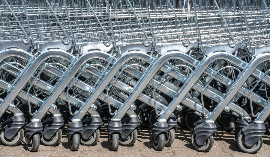 Shopping Carts Arranging On Road
