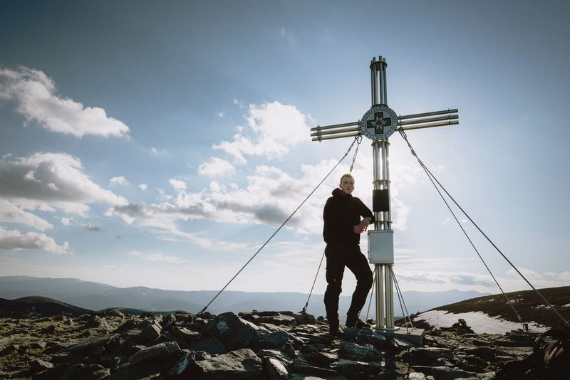 Me on the mountain top Full Length Adults Only Only Men One Man Only One Person Mature Adult Sky People Cloud - Sky Cold Temperature Beauty In Nature Nature Illuminated Day Men Outdoors Standing Wind Power Wind Turbine Headwear Austria Alps Alpine Mountain Hiking Standing Selfietime Self Portrait
