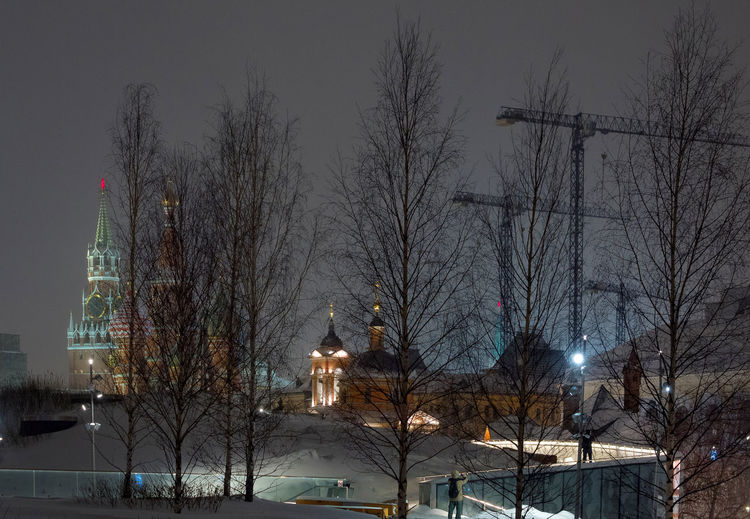 Russia, Moscow, the Kremlin, the Nikolskaya street, night, snow, Vasilevsky descent, the Kremlin's Spassky tower, St. Basil's Cathedral, Monument to Minin and Pozharsky on red square, Manezhnaya square, Ulitsa Varvarka, Zaryadye Park , winter, travel, architecture Moscow Night Lights Russia Architecture Bare Tree Beauty In Nature Branch Building Exterior Built Structure City Cold Temperature Illuminated Nature Night No People Outdoors Sky Snow Snowing Street Light The Kremlin Tree Weather Winter