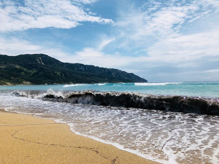 Mountain Wave Waves Rolling In Waves Crashing Sea Water Beach Sky Land Beauty In Nature Scenics - Nature Cloud - Sky Sand