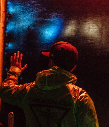 Nightphotography Illuminated Lifestyles Men Night Nightlife People Real People Rear View Standing