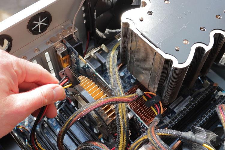 Close-up of hand holding machine