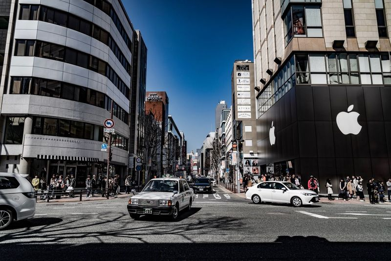 Fukuoka Japan Car Architecture Building Exterior City Transportation Land Vehicle Built Structure Street Outdoors Yellow Taxi Day Sky Clear Sky