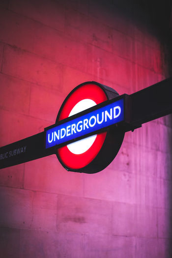 Blue Glow London Red Roundel Sign Tflers Under