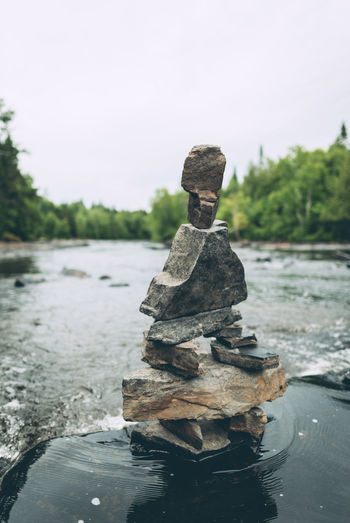 Balance Beauty In Nature Close-up Day Flowing Focus On Foreground Nature No People Outdoors Rapid River Rock Sky Solid Stack Stacked Rocks Stone - Object Stream Tranquil Scene Tranquility Water Zen-like