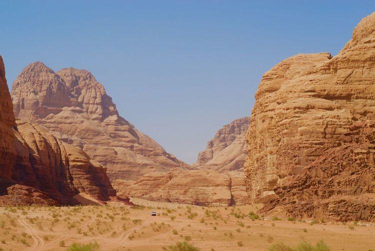 Rocky mountains at wadi rum